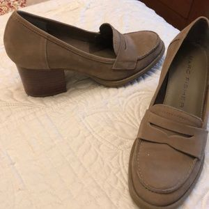 """Tan suede leather wooden stacked heel 2"""" loafers."""